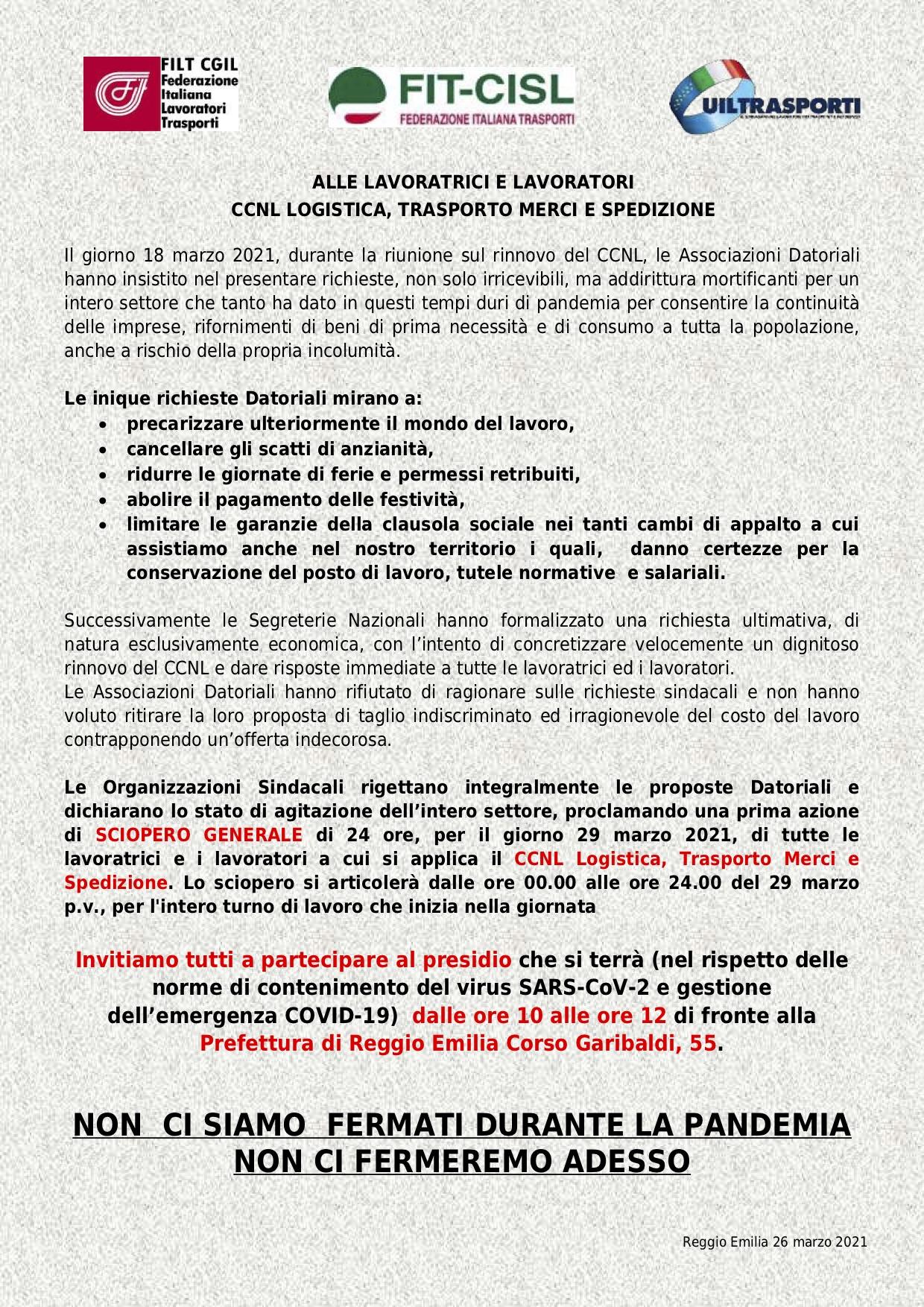 Volantino Sciopero Reggio Emilia Cgil Reggio Emilia
